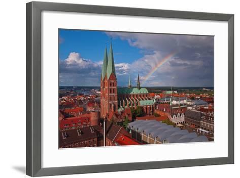 Germany, Schleswig-Holstein, City Center of LŸbeck, Overview, Rainbow-Thomas Ebelt-Framed Art Print