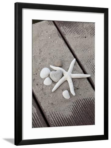 Still Life, Maritime, Sand, Wood, Seashells, Starfish, Heart, Lettering 'Happy'-Andrea Haase-Framed Art Print