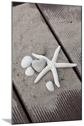 Still Life, Maritime, Sand, Wood, Seashells, Starfish, Heart, Lettering 'Happy'-Andrea Haase-Mounted Photographic Print