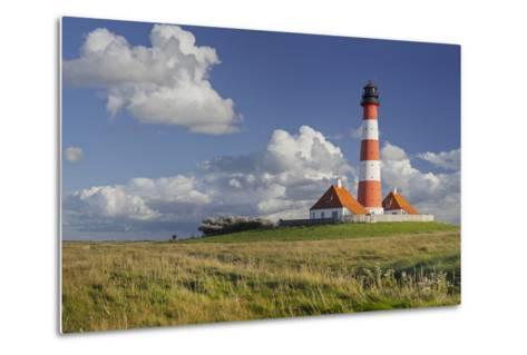 Lighthouse of Westerhever (Municipality), Schleswig-Holstein, Germany-Rainer Mirau-Metal Print
