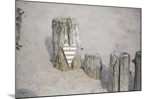 Heart Charms, Wooden Pole, Beach, Icon, Love-Andrea Haase-Mounted Photographic Print