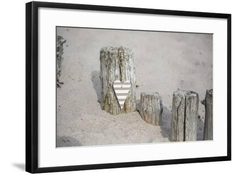 Heart Charms, Wooden Pole, Beach, Icon, Love-Andrea Haase-Framed Art Print