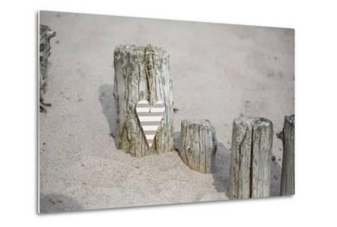 Heart Charms, Wooden Pole, Beach, Icon, Love-Andrea Haase-Metal Print