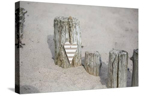 Heart Charms, Wooden Pole, Beach, Icon, Love-Andrea Haase-Stretched Canvas Print