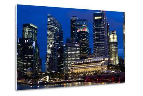 Singapore City Skyline at Dawn with Fullerton Hotel in Front-Harry Marx-Metal Print