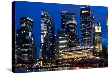 Singapore City Skyline at Dawn with Fullerton Hotel in Front-Harry Marx-Stretched Canvas Print