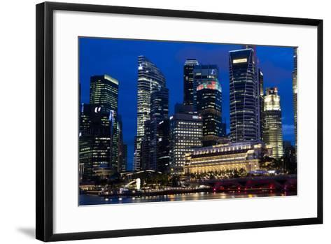Singapore City Skyline at Dawn with Fullerton Hotel in Front-Harry Marx-Framed Art Print