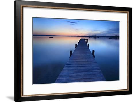 Germany, Bavaria, Ammersee (Lake Ammer), Herrsching, Footbridge at Sundown-Andreas Vitting-Framed Art Print