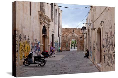 Greece, Crete, Rethimnon, Lane with Graffiti-Catharina Lux-Stretched Canvas Print