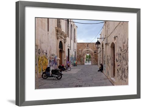 Greece, Crete, Rethimnon, Lane with Graffiti-Catharina Lux-Framed Art Print