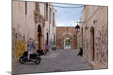 Greece, Crete, Rethimnon, Lane with Graffiti-Catharina Lux-Mounted Photographic Print