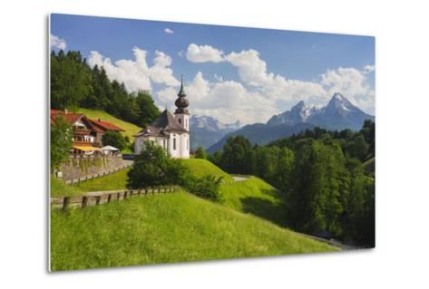 Church Maria Gern, to Vordergern, Watzmann, Berchtesgadener Land District, Bavaria, Germany-Rainer Mirau-Metal Print