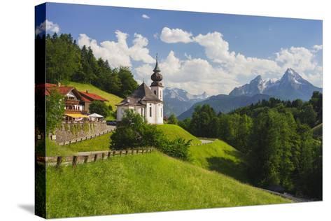 Church Maria Gern, to Vordergern, Watzmann, Berchtesgadener Land District, Bavaria, Germany-Rainer Mirau-Stretched Canvas Print