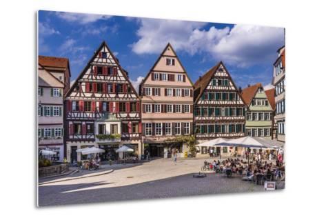 Germany, Baden-Wurttemberg, Neckartal (Neckar Valley), T?bingen, Marktplatz (Market Square-Udo Siebig-Metal Print