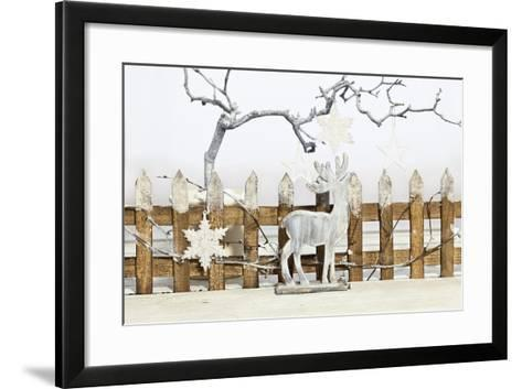 Christmas Decoration and Decoration Fence with Pensioner-Andrea Haase-Framed Art Print