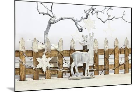 Christmas Decoration and Decoration Fence with Pensioner-Andrea Haase-Mounted Photographic Print