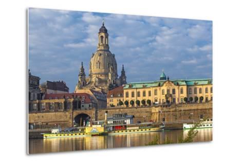 Europe, Germany, Saxony, Dresden, Elbufer (Bank of the River Elbe) with Paddlesteamer-Chris Seba-Metal Print