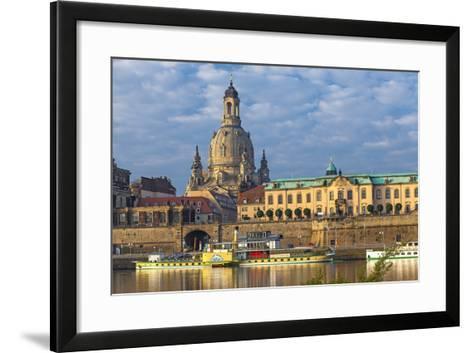 Europe, Germany, Saxony, Dresden, Elbufer (Bank of the River Elbe) with Paddlesteamer-Chris Seba-Framed Art Print