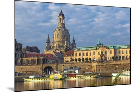 Europe, Germany, Saxony, Dresden, Elbufer (Bank of the River Elbe) with Paddlesteamer-Chris Seba-Mounted Photographic Print