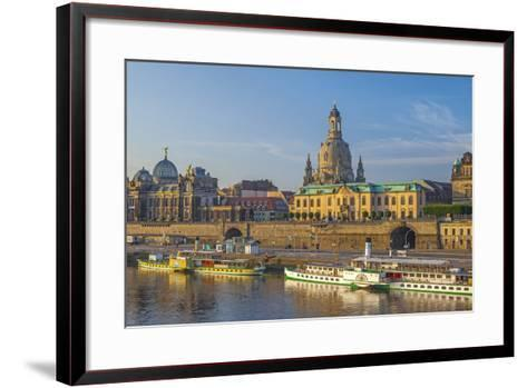 Europe, Germany, Saxony, Dresden, Elbufer (Bank of the River Elbe) with Paddlesteamer-Chris Seba-Framed Art Print