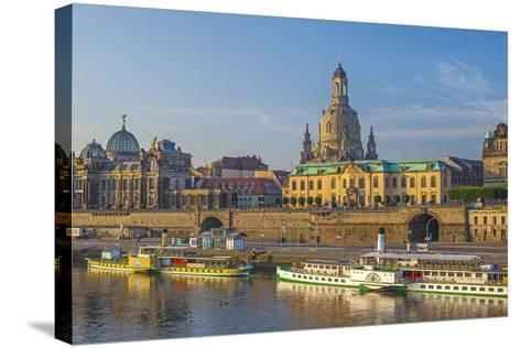 Europe, Germany, Saxony, Dresden, Elbufer (Bank of the River Elbe) with Paddlesteamer-Chris Seba-Stretched Canvas Print