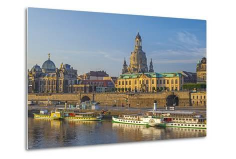 Europe, Germany, Saxony, Dresden, Elbufer (Bank of the River Elbe) with Paddlesteamer-Chris Seba-Metal Print
