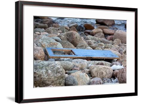 The Baltic Sea, R?gen, Flotsam on the Beach, Old Door-Catharina Lux-Framed Art Print