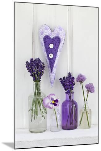 Lavender, Blossoms, Pansies, Chive Blossoms, Heart-Andrea Haase-Mounted Photographic Print