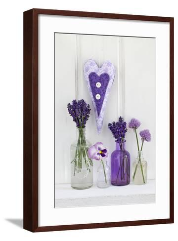 Lavender, Blossoms, Pansies, Chive Blossoms, Heart-Andrea Haase-Framed Art Print