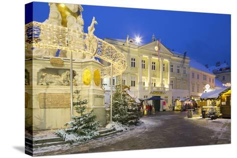Plague Column, City Hall, Main Square, Baden Bei Wien, Lower Austria, Austria-Rainer Mirau-Stretched Canvas Print