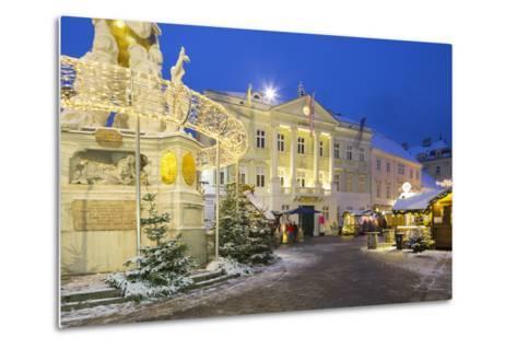 Plague Column, City Hall, Main Square, Baden Bei Wien, Lower Austria, Austria-Rainer Mirau-Metal Print