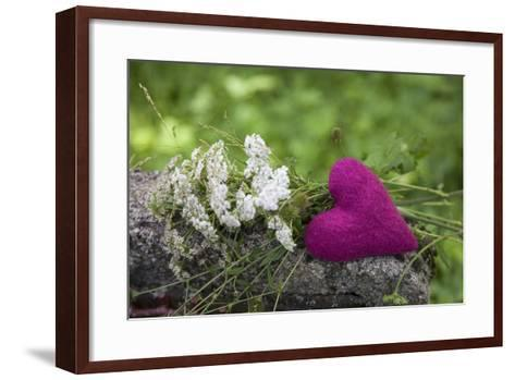Heart, Pink, Flowers, Wild Chervil, Green-Andrea Haase-Framed Art Print