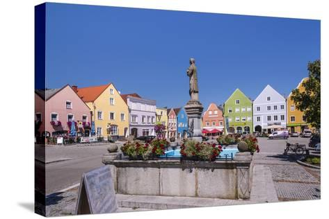 Austria, Upper Austria, Innviertel, Obernberg on the Inn, Marketplace, Rococo Facade-Udo Siebig-Stretched Canvas Print