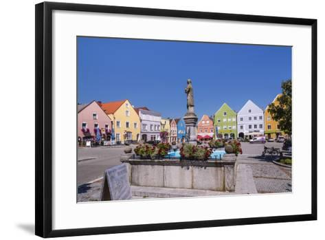 Austria, Upper Austria, Innviertel, Obernberg on the Inn, Marketplace, Rococo Facade-Udo Siebig-Framed Art Print