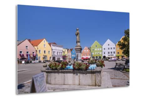 Austria, Upper Austria, Innviertel, Obernberg on the Inn, Marketplace, Rococo Facade-Udo Siebig-Metal Print