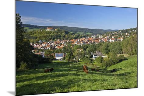 Germany, Hessen, Northern Hessen, Spangenberg, Townscape, Meadow, Cattle, Bison Herd, Grazing-Chris Seba-Mounted Photographic Print