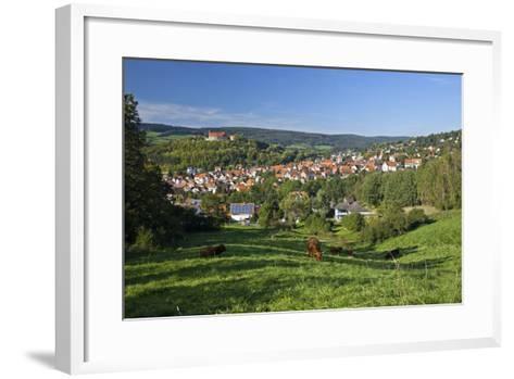 Germany, Hessen, Northern Hessen, Spangenberg, Townscape, Meadow, Cattle, Bison Herd, Grazing-Chris Seba-Framed Art Print