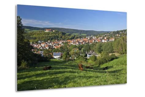 Germany, Hessen, Northern Hessen, Spangenberg, Townscape, Meadow, Cattle, Bison Herd, Grazing-Chris Seba-Metal Print