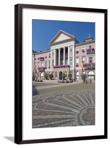 Germany, Baden-W?rttemberg, Karlsruhe, Marketplace, City Hall, Stone Mosaic-Chris Seba-Framed Art Print