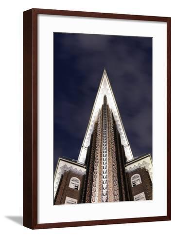 Chilehaus at Night, Architecture, Detail, Hamburg, Germany, Europe-Axel Schmies-Framed Art Print