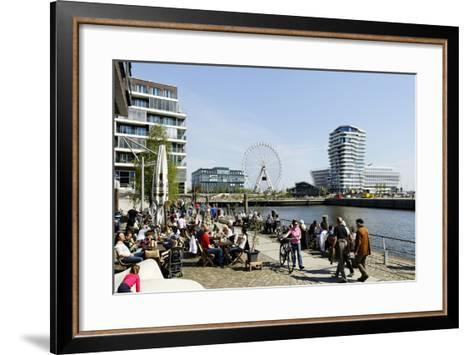 Strolling at the Kaiserkai, Local Recreation, Hafencity, Hamburg, Germany, Europe-Axel Schmies-Framed Art Print