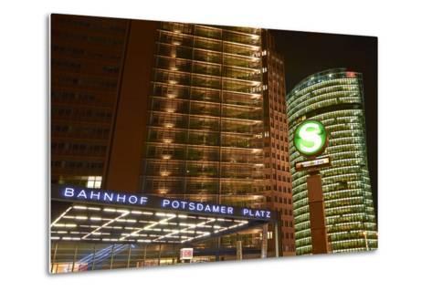 Germany, Berlin, Potsdamer Platz, Subway Station and City Train Station, Night-Christian Hikade-Metal Print