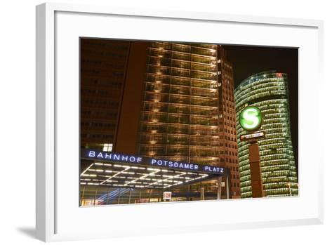 Germany, Berlin, Potsdamer Platz, Subway Station and City Train Station, Night-Christian Hikade-Framed Art Print