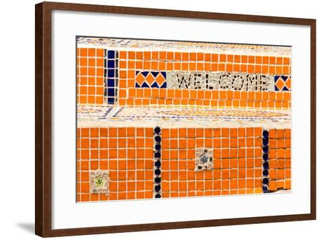 Cape Town, Exterior Wall, Mosaic, 'Welcome'-Catharina Lux-Framed Art Print