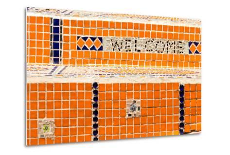 Cape Town, Exterior Wall, Mosaic, 'Welcome'-Catharina Lux-Metal Print