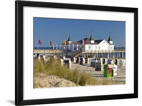 Germany, Western Pomerania, Island Usedom, Seaside Resort Ahlbeck, Pier, Beach Chairs-Chris Seba-Framed Art Print
