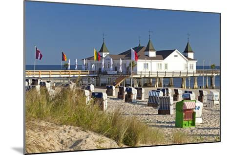 Germany, Western Pomerania, Island Usedom, Seaside Resort Ahlbeck, Pier, Beach Chairs-Chris Seba-Mounted Photographic Print