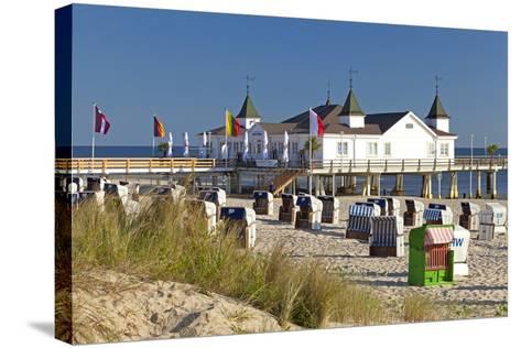 Germany, Western Pomerania, Island Usedom, Seaside Resort Ahlbeck, Pier, Beach Chairs-Chris Seba-Stretched Canvas Print