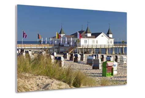 Germany, Western Pomerania, Island Usedom, Seaside Resort Ahlbeck, Pier, Beach Chairs-Chris Seba-Metal Print