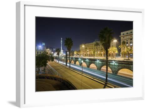 Spain, Catalonia, Barcelona, Ronda Del Litoral, Evening-Rainer Mirau-Framed Art Print